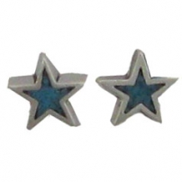 Star, Turquoise inlay Earrings